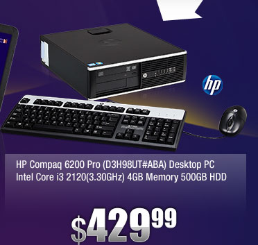 HP Compaq 6200 Pro (D3H98UT#ABA) Desktop PC Intel Core i3 2120(3.30GHz) 4GB Memory 500GB HDD