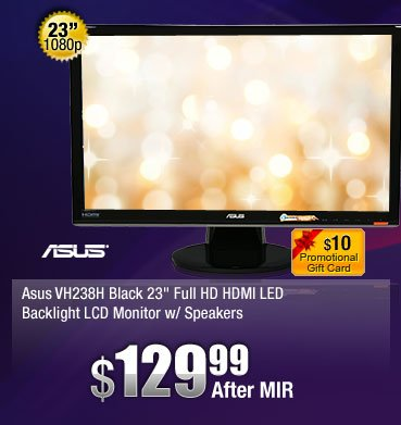 """Asus VH238H Black 23"""" Full HD HDMI LED Backlight LCD Monitor w/Speakers"""