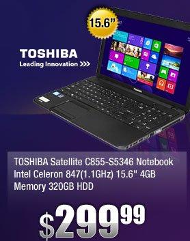 "TOSHIBA Satellite C855-S5346 Notebook Intel Celeron 847(1.1GHz) 15.6"" 4GB Memory 320GB HDD"