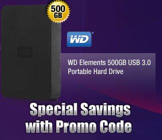 WD Elements 500GB USB 3.0 Portable Hard Drive