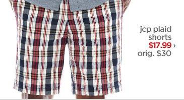jcp plaid shorts $17.99› orig. $30