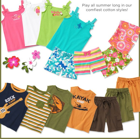 Hello Sunshine! Play all summer long in our comfiest cotton styles!