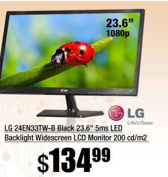 LG 24EN33TW-B Black 23.6 inch 5ms LED Backlight Widescreen LCD Monitor 200 cd/m2