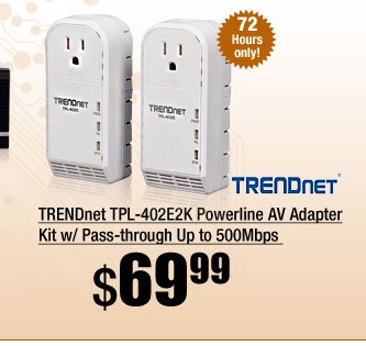 TRENDnet TPL-402E2K Powerline AV Adapter Kit w/ Pass-through Up to 500Mbps
