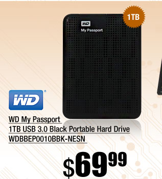 WD My Passport 1TB USB 3.0 Black Portable Hard Drive WDBBEP0010BBK-NESN