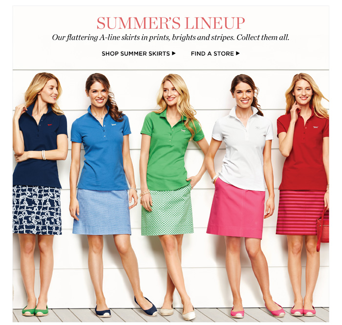 Summer lineup, our flattering A-line skirts in prints, brights and stripes. Collect them all. Shop summer skirts. Find a store.