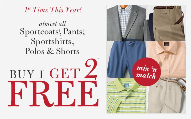Sportcoats†, Pants†,Sportshirts†, Polos & Shorts Buy 1* Get 2** Free