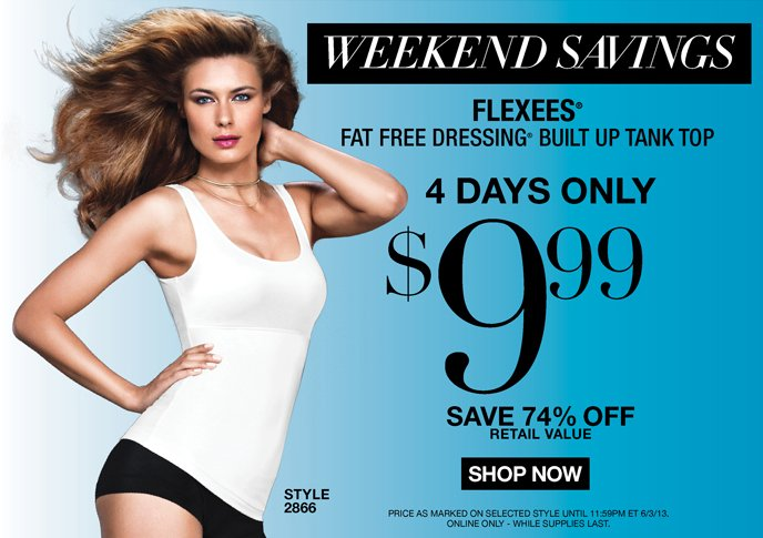 Weekend Savings: Flexees Fat Free Dressing Built Up Tank Top 4 Days Only $9.99