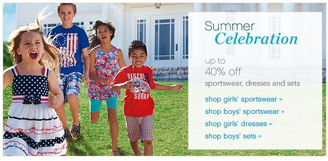 Summer Celebration. Up to 40% off sportswear, dresses and sets.