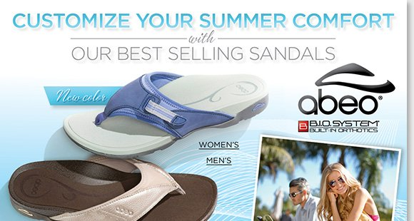 Shop the bestselling ABEO B.I.O.system 'Alarys,' 'Balboa,' and 'Alanza' sandals in fun eye-popping colors and styles! Experience the revolutionary custom 3-D fit comfort of B.I.O.system technology featuring built-in orthotics. Find the best selection online and in-stores now at The Walking Company.