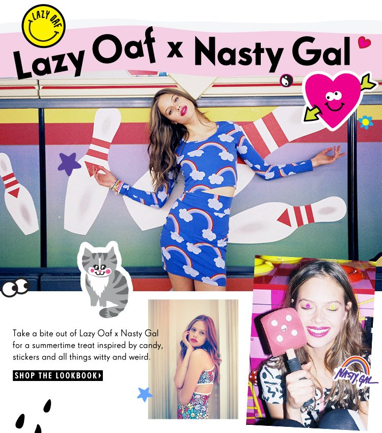 Take a bit out of Lazy Oaf x Nasty Gal for a midsummer treat! Shop the collab