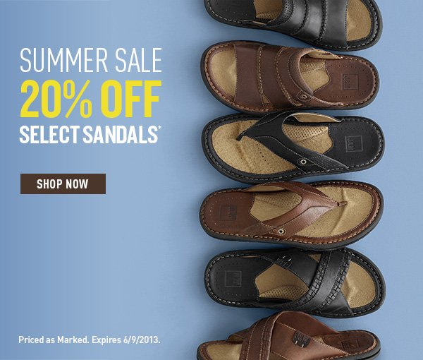 Summer Sale 20% Off Select Sandals