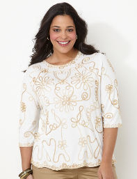 Catherines Plus Size Flower Terrace Top - Women's Size 2X,3X, Seed Pearl
