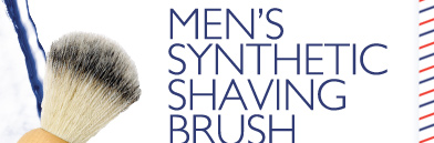 'Works great!' MEN'S SYNTHETIC SHAVING BRUSH -- 'Bristles work great... holds hot water and lather well. Would buy again.' --MJStout