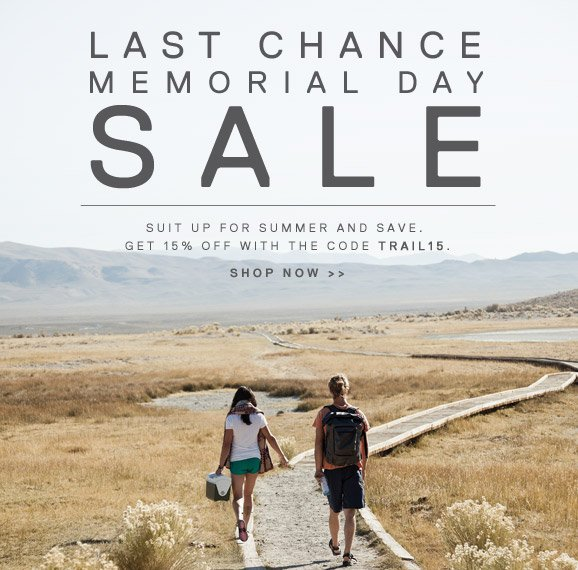 LAST CHANCE MEMORIAL DAY SALE - SUIT UP FOR SUMMER AND SAVE. GET 15% OFF WITH THE CODE TRAIL15. SHOP NOW >>