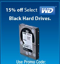 15% off Select WD Black Hard Drives.