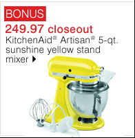 BONUS 249.97 closeout KitchenAid® Artisan&Reg; 5-qt. sunshine yellow stand mixer. Shop now.