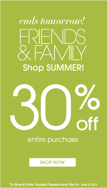 30% Off Your Entire Purchase - Ends Tomorrow