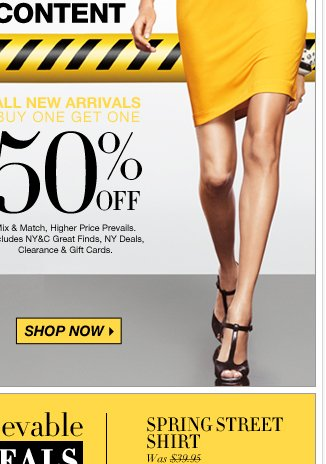 Buy one, get one 50% off new arrivals & more!