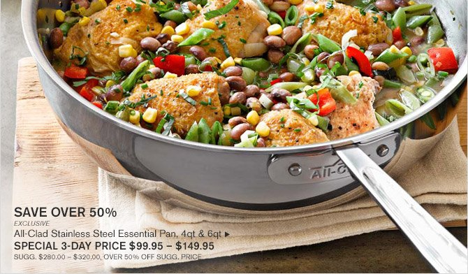 SAVE OVER 50% -- EXCLUSIVE -- All-Clad Stainless Steel Essential Pan, 4qt & 6qt, SPECIAL 3-DAY PRICE $99.95 - $149.95 -- SUGG. $280.00 - $320.00, OVER 50% OFF SUGG. PRICE
