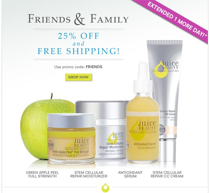 Extended 1 more day! Friends & Family - 25% off + Free Shipping!