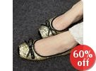 Bow-Accent Sequined Flats