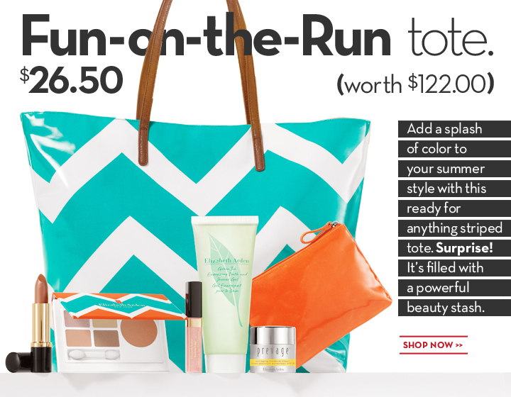 Fun-on-the-Run tote. $26.50 (worth $122.00). Add a splash of color to your summer style with this ready for anything striped tote. Surprise! It's filled with a powerful beauty stash. SHOP NOW.
