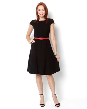 Anne Klein Short Sleeve Belted A-Line Dress
