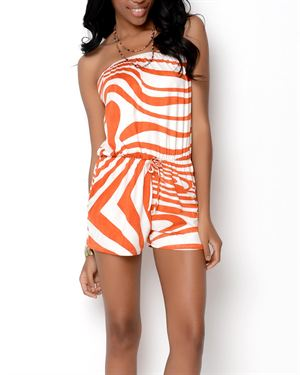 Trinity Printed Swirl Romper - Made In USA