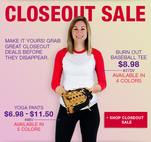 Closeout Sale. Yoga pants. Burn out baseball tee.