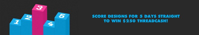Score designs for 5 days straight to win $250 Threadcash.