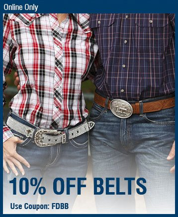 Online Only - 10% Off Belts Use Coupon Code: FDBB