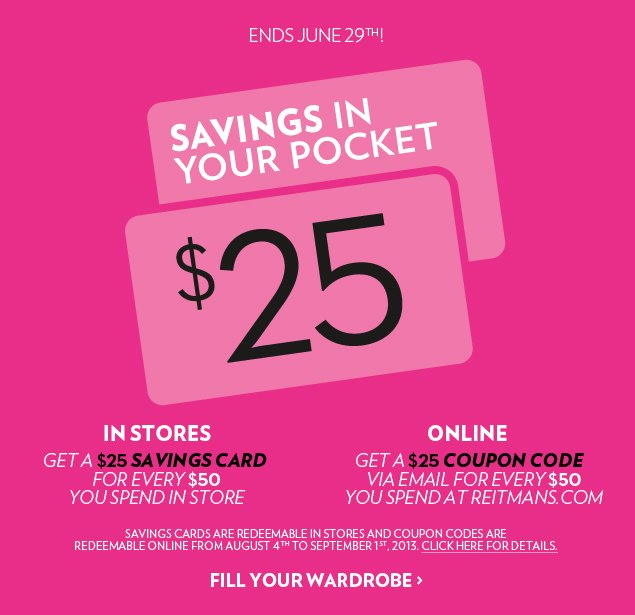 SAVINGS IN YOUR POCKET. Ends June 29th!