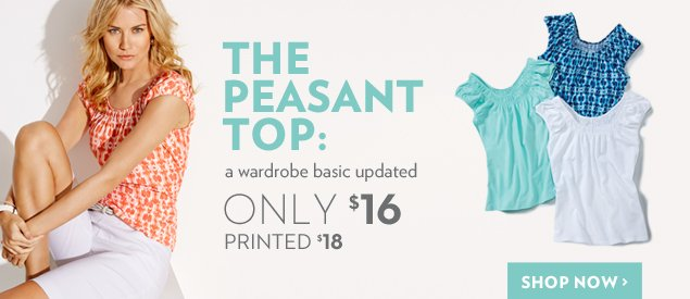 The Peasant Top: a wardrobe basic updated $16. Printed $18