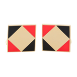 Red Geometric Cufflinks