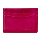 Pink Burnished Leather Credit Card Case