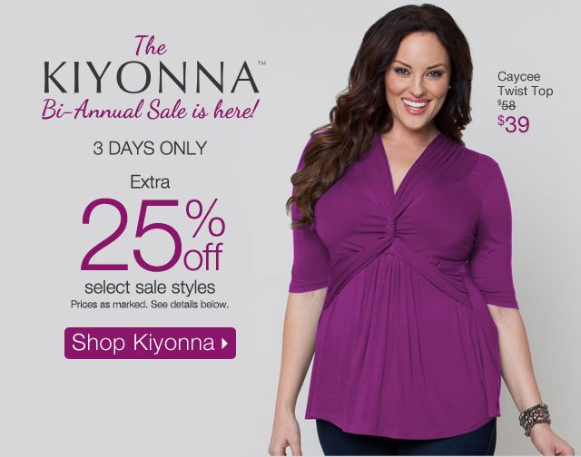 The Kiyonna Bi-Annual Sale is here!  3 Days Only extra 25% off select sale styles