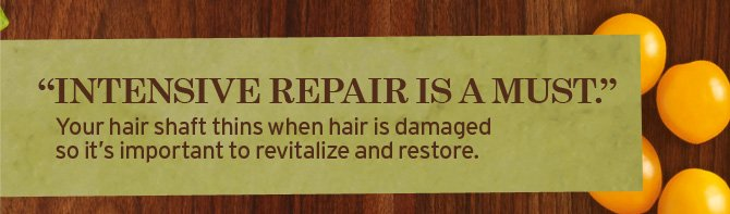 INTENSIVE REPAIR IS A MUST Your hair shaft thins when hair is  damaged so it is important to revitalize and restore