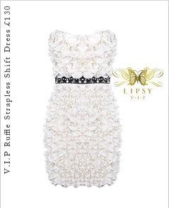 V I P Ruffle Detail Strapless Shift Dress