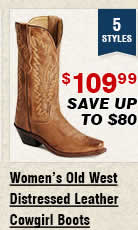 Shop Womens Old West Distressed Leather Cowgirl Boots