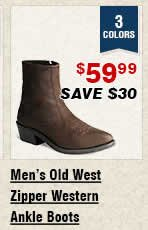 Shop Mens Old West Zipper Western Ankle Boots