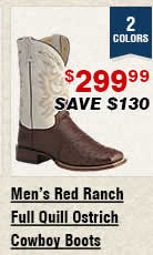 Shop Mens Red Ranch Full Quill Ostrich Cowboy Boots