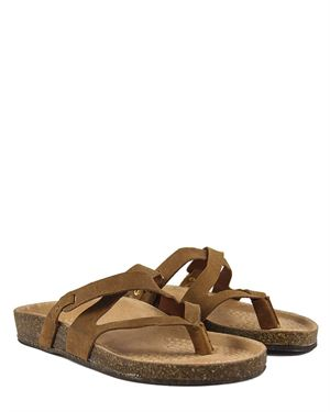 La Bellatrix Genuine Leather Criss-Cross Thong Sandals Made in Italy