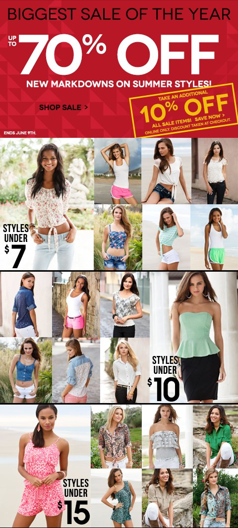 GOOD NEWS! Shop NEW Markdowns + Save up to 70%! Extra 10% off SALE styles - CLICK to start shopping