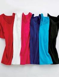 Catherines Plus Size Suprema Lattice Trim V-Neck - Women's Size 1X,2X,3X,0X, White,Black,Bright Rose,Deep Blue,Horn Blue,Neon Red,Metal Green,Regal Purple