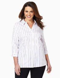 Catherines Plus Size Non-Iron Stripe Buttonfront - Women's Size 0X, White