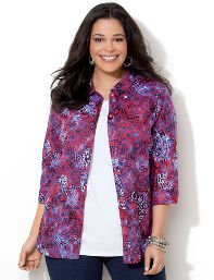 Catherines Plus Size Paisley Buttonfront Shirt - Women's Size 3X, Tango Red