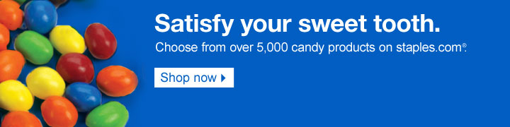 Satisfy  your sweet tooth. Choose from over 5,000 candy products on staples.com.  Shop now.