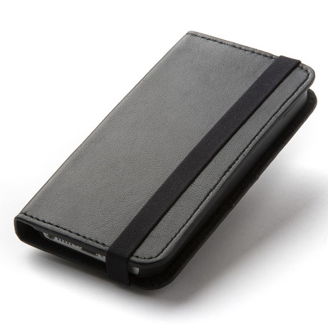 Thin Leather Wallet Case for iPhone 5 // Black
