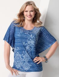 Catherines Plus Size Vintage Scroll Top - Women's Size 2X,3X, Metal Blue